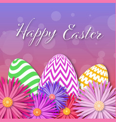 easter card with paper cut egg and flowers vector image