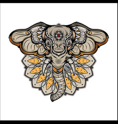 elephant head tattoo vector image