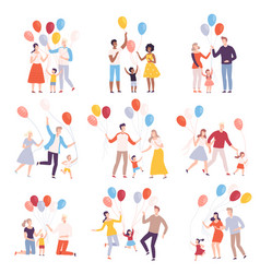 families walking with colorful balloons collection vector image