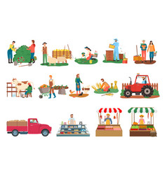 farming person people cutting bushes on farm set vector image