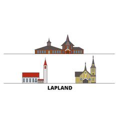 Finland lapland flat landmarks vector