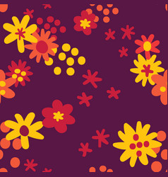flat colour autumn flowers seamless pattern vector image