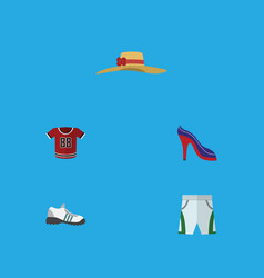 flat icon clothes set of sneakers heeled shoe vector image