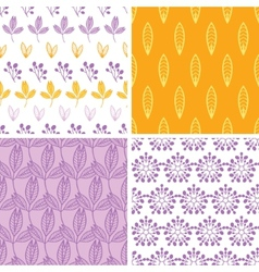 Four abstract pink purple yellow folk leaves vector image