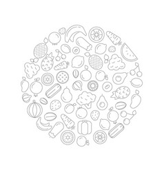 fruits and vegetables in circle linear vector image