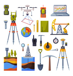 Geodesy equipment collection geodetic engineering vector