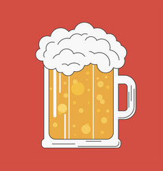 glass of beer and foam vector image
