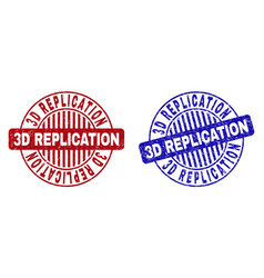 Grunge 3d replication textured round stamps vector