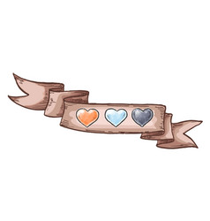 hand drawn hearts and vintage ribbon design vector image