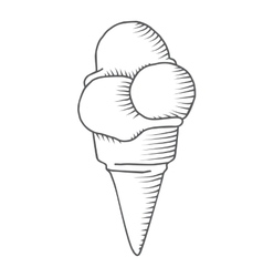 Hand-drawn icecream in cone sketch vector image
