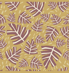Hand drawn leaves seamless pattern simple design vector