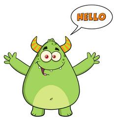 happy horned green monster cartoon character vector image
