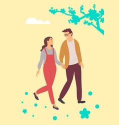 happy people walking among spring sakura blossoms vector image