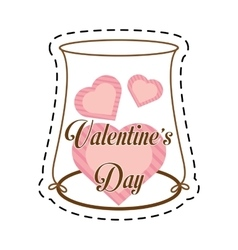 hearts love pink decoration cut line vector image
