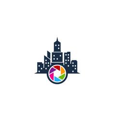 lens town logo icon design vector image
