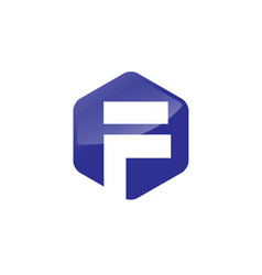 Letter f hexagon logo vector