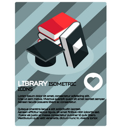 Library color isometric poster vector