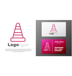 Logotype line traffic cone icon isolated on white vector