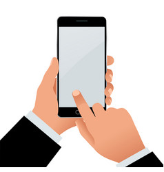 male hand holding a phone with blank screen flat vector image