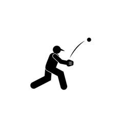 Man ball throw baseball glyph icon element of vector
