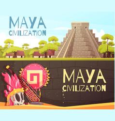 Maya cartoon banners set vector