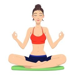 Meditating woman vector