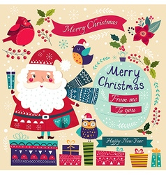 Merry Christmas with Santa vector image