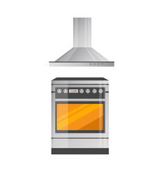 Modern kitchen stove with powerful hood above vector