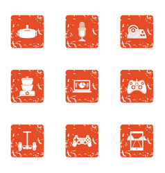Modification icons set grunge style vector
