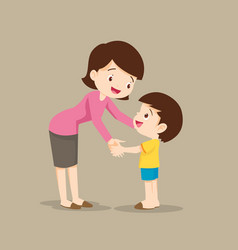 mom hugging her child boy and talking to him vector image