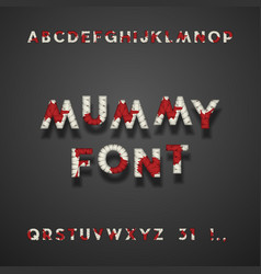 Mummy bandage font with blood halloween sans vector