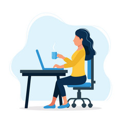 office work concept with happy female vector image