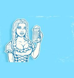 oktoberfest girl with beer vector image