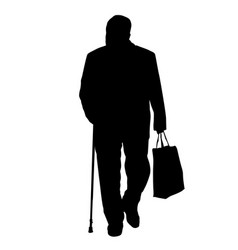 old man silhouette with stick and shopping bag vector image