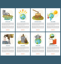 overpopulation and forest destruction website set vector image
