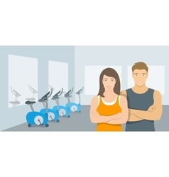 Personal fitness trainers man and woman in gym vector