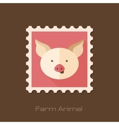 Pig flat stamp Animal head vector image