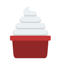 portion whipped cream flat isolated vector image