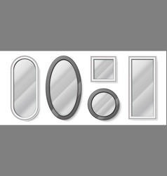 realistic mirrors round and square glass shapes vector image