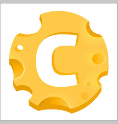 round cheese emblem with letter c isolated on vector image