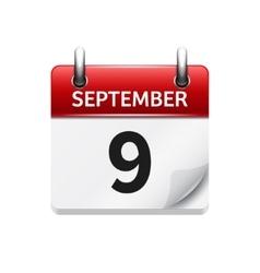 September 9 flat daily calendar icon vector