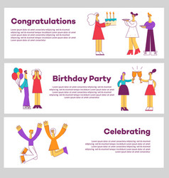 set of celebrating horizontal vector image