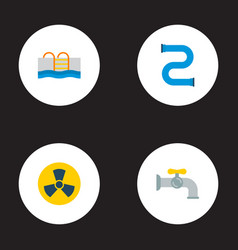 Set of urban icons flat style symbols with vector