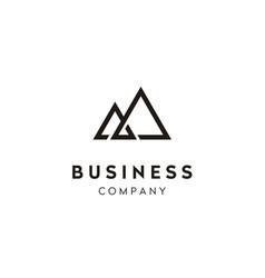 Simple mountain peak mount line art logo vector