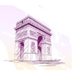 Sketch arc de triomphe in paris with few tiny vector