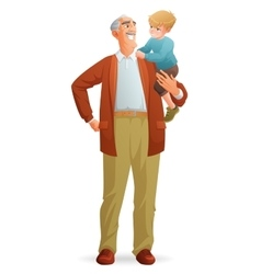 Smiling grandfather holding his grandson vector image