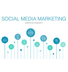 Social media marketing infographic 10 steps vector