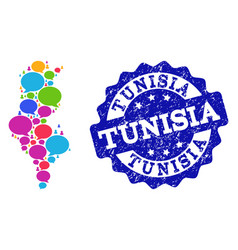 Social network map of tunisia with chat bubbles vector