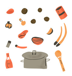 soup recipe with ingredients design vector image