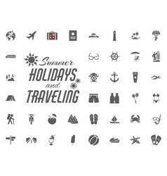 summer holidays and traveling icons set vector image